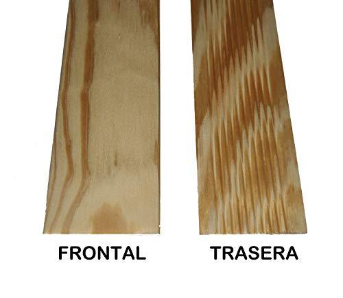 Vipermader TAPETA DE MADERA MACIZA PINO MELIS. Kit de 6 tapetas barnizadas de 7 cm de ancho (4 Uds de 220x70x9mm + 2 Uds de 100x70x9mm)