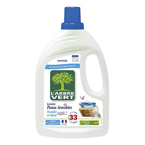 L'Arbre Vert Lessive Liquide pour Peaux Sensibles Famille et Bébé Hypoallergénique Sans Allergènes, 1,5L