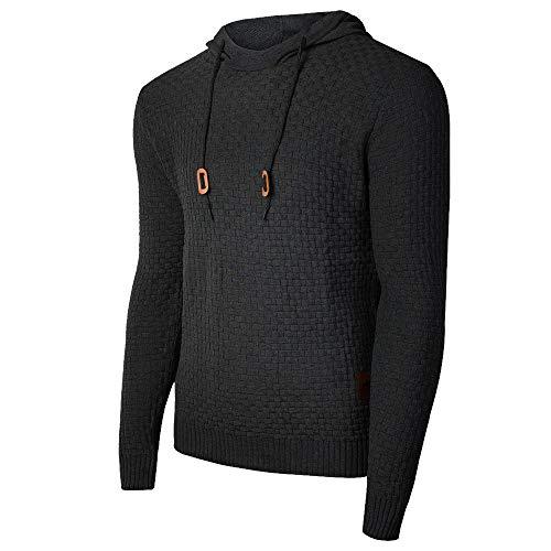 Genfien Pull décontracté à capuche à manches longues pour homme avec encolure en entonnoir à carreaux en jacquard - Noir - XL