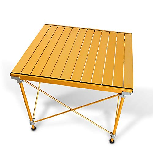Jianghuayunchuanri Folding Camping Table Outdoor Simple Folding Table Home Picnic Table Garden Barbecue Table Lightweight Folding Smart Aluminum Base for Picnic (Color : Gold, Size : 64x72x52cm)