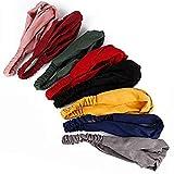 Tugaizi - Lote de 8 diademas para mujeres y niñas con diseño cruzado, elásticas, estilo ancho, estética bohemia, colores gris, azul, amarillo, negro, rojo, verde, burdeos y rosa, talla L
