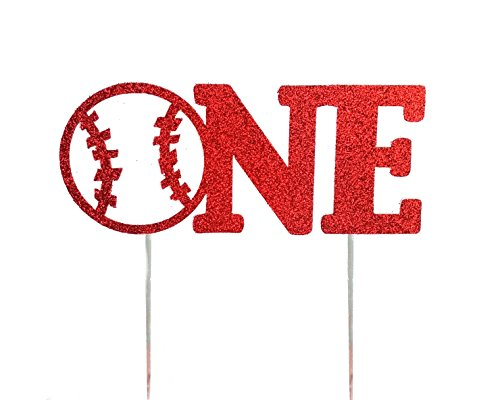 Handmade 1st Birthday Cake Topper Decoration - One with Baseball - Double Sided Red Glitter Stock