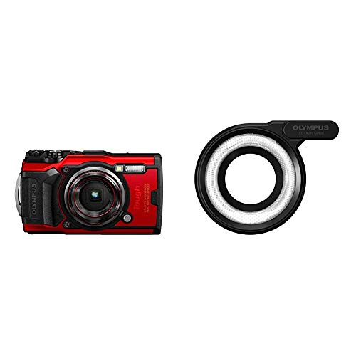 Olympus Tough TG-6 Actionkamera, 12 Megapixel Sensor, Digitale Bildstabilisierung, 4X-Weitwinkel-Zoom, 4k-Video, 120fps, Wi-Fi, rot & LG-1 LED Lichtleiteraufsatz