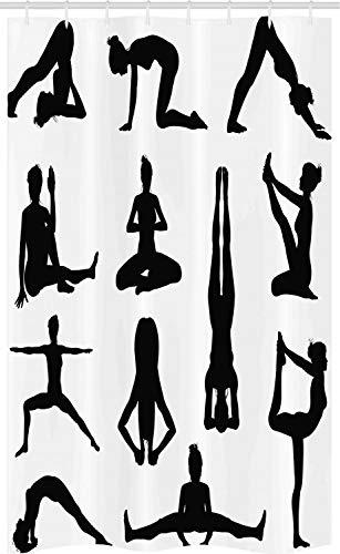 ABAKUHAUS Yoga Douchegordijn, Asana's Formulieren Wellness, voor Douchecabine Stoffen Badkamer Decoratie Set met Ophangringen, 120 x 180 cm, Zwart wit
