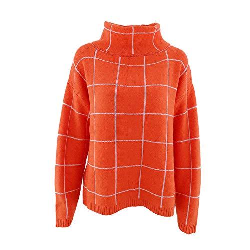 Coltrui Vrouwen Oversized Casual Lange Mouw Losse Chunky Knit Pullover Tops Winter Pullover Vrouwen Jumper Tops Vrouwelijke-Oranje_S