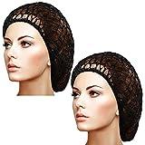 Waydress 2 Pieces Mesh Hair Net Rayon Knit Snood Women Crocheted Sleep Cap (Black)