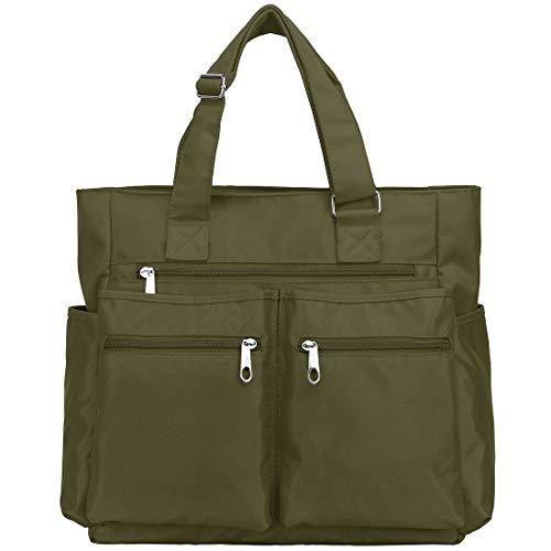 Bolsa sacola de lona de nylon impermeável com vários bolsos, bolsa de ombro para laptop, bolsa de trabalho, bolsa de professor e bolsas para mulheres e homens, Army Green, Large