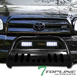 Topline Autopart Black Bull Bar Brush Push Bumper Grill Grille Guard With Skid Plate + 36W CREE LED Fog Lights For 99/00-06 Toyota Tundra / 01-07 Sequoia