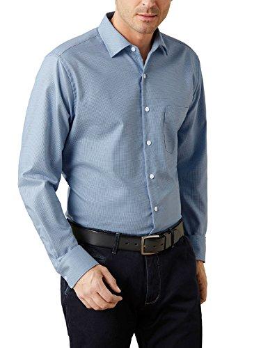 Walbusch Herren Hemd Bügelfrei Netzwerk Gemustert Blau 40 - Langarm extra lang