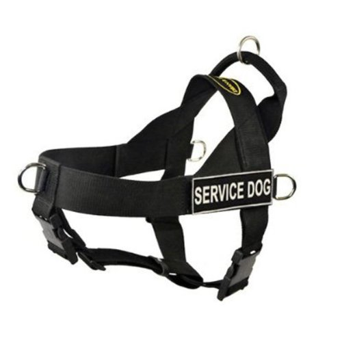 DT Universal No Pull Dog Harness, Service Dog, Black, Large, Fits Girth Size: 31-Inch to 42-Inch