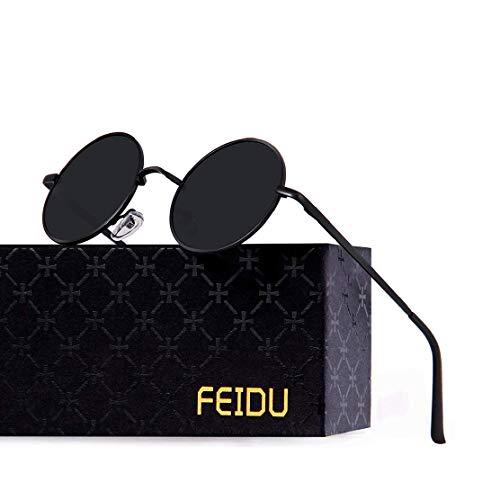 FEIDU Retro Vintage Runde sonnenbrille herren - Polarisiert mit rundem Metallrahmen,sonnenbrille damen FD 3013 (Schwarz-Schwarz, 1.81)