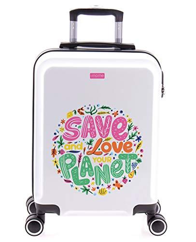 imome Cool Maleta de Cabina Juvenil Love Our Planet 55x40x20 cm | Equipaje de Mano, Trolley de Viaje Ryanair, Easyjet | Maleta de Viaje Blanco Rígida Divertida Salva El Planeta Medio Ambiente