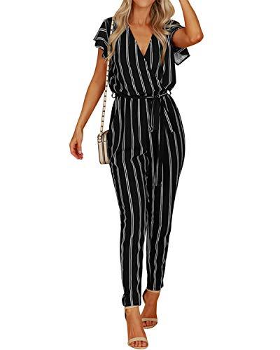 VONDA Jumpsuit Damen Elegant Sommer Overall V-Ausschnitt Kurzarm Einteiler Playsuit mit Bindegürtel schwarz EU46