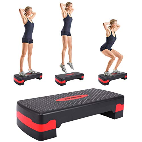 "JAXPETY New 27'' Fitness Aerobic Step Adjust 4"" - 6"" Exercise Stepper w/Risers Home Gym (Black&Red)"