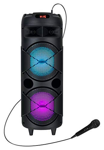 Beatfoxx PBS-835 Thundertube Bluetooth Lautsprecher mit Mikrofon - Mobile DJ/PA Anlage mit Karaoke Funktion - Integrierter 2200 mAh Akku und Lichteffekte - USB/SD Slots mit Aufnahmefunktion - 60W