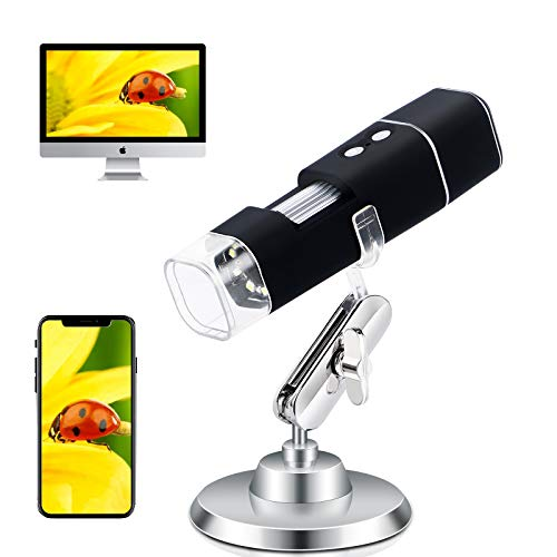 Wireless Digital Microscope WiFi USB Microscope Camera 1080P 2.0 MP Zoom Magnification Microscope 50X to 1000X Handheld Portable Microscope with 8 LED, Stand for Android, iPhone, Tablet, Windows, Mac