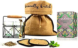 Pukka Motherkind Baby Herbal Tea Hamper with Two Vintage Tea Glasses Antique Brass Tea Stand Coaster Set and Handmade Tea Spoon. All Packed in a rustic burlap gift bag.