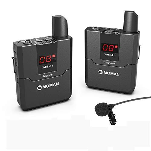 Moman T1 Sistema de UHF-Micrófono-Solapa-Inalámbrico-Reflex 16 Canales para DSLR Cámara, Videocámara y Smartphone, 50m Rango de Transmisión, Adecuado para Entrevista, Enseñanza, Presentación etc