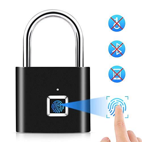 CNLOYUA Smart Schloss Fingerprint, Fingerabdruck Vorhängeschloss,Vorhängeschlösser Lock, USB-Aufladung Metall Diebstahlsicherung Home Secure Safety PadlockSchlüsselloses Schloss Wasserdicht