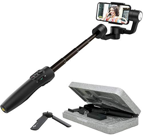 FeiyuTech Vimble 2S - Stabilizzatore cardanico portatile estensibile a 3 assi per smartphone,Iphone/Samsung/Xiao Mi/Huawei, nero scuro