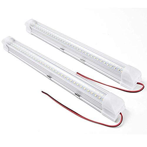 ConBlom - 2 barras de luz interior LED para coche, CC 12 V, 4 W, iluminación interior para coche, camión, autocaravana, con interruptor de encendido/apagado, 72 ledes (2 unidades)
