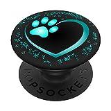 Herz mit Pfote von Hund oder Katze PopSockets PopGrip: Ausziehbarer Sockel und Griff für...