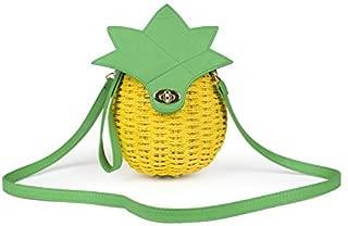 SUKUTU Women Girls Hand Weave Summer Straw Pineapple Shoulder Purse Crossbody Beach Bags with Wristlet