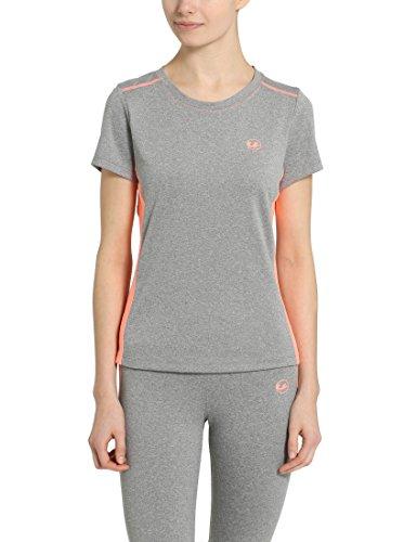 Ultrasport Fitness/Sport T-Shirt Femme, Gris-Mélange/Corail, Medium