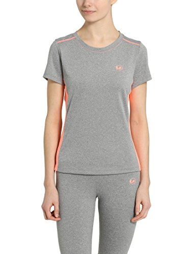 Ultrasport Fitness/Sport T-Shirt Camiseta de Manga Corta, Mujer, Gris/Coral, L