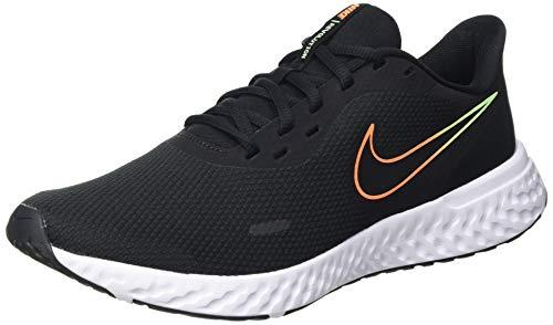 Nike Revolution 5, Zapatillas para Correr Hombre, Black Atomic Orange Obsidian White Lime Glow, 39 EU