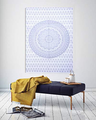 THE ART BOX Tapisserie Silber Weiß Mandala Wandbehang Psychedelic Tapisserien Indische Baumwolle Poster Tagesdecke Picknick Decke Wandkunst Hippie Schlafzimmer Dekor