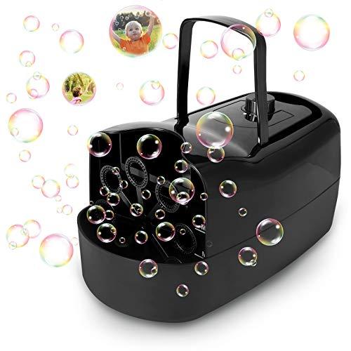 joylink Maquina Burbujas, Maquina Pompas Jabón Automática Portátil con 380 ml Capacidad, 3000+ Burbujas por Minuto Soplador de Pompas Techo Exteriores Juguetes Burbujas (Negro)
