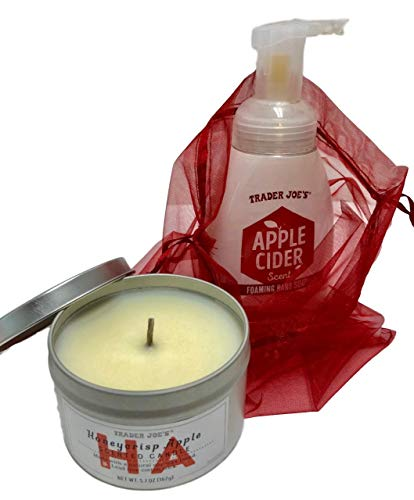 Trader Joes Foaming Hand Soap and Tinned Candle in Voile Bag Gift Bundle - Choice of Honeycrisp Apple or Peony Blossom (Red Honeycrisp Apple)