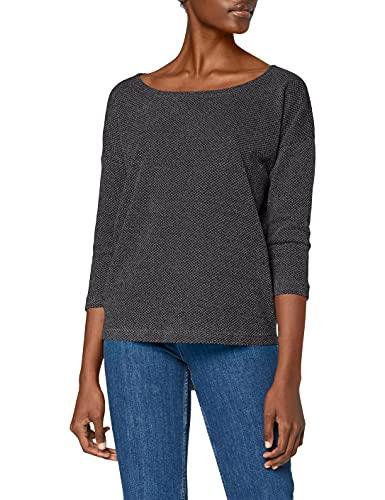 ONLY Damen ONLALBA 3/4 TOP JRS NOOS T-Shirt, Grau (Dark Grey Melange Dark Grey Melange), Small (Herstellergröße: S)
