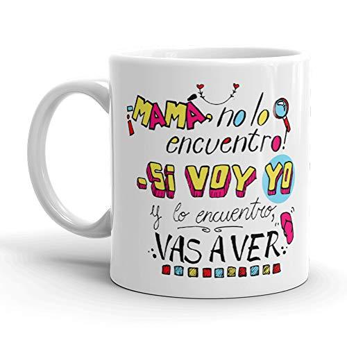 Kembilove. Taza de Desayuno de la Mejor Madre – Taza de café con Frases Graciosas y Originales ¡Mamá no lo Encuentro! – Regalo Original para el día de la Madre 5 Modelos Diferentes