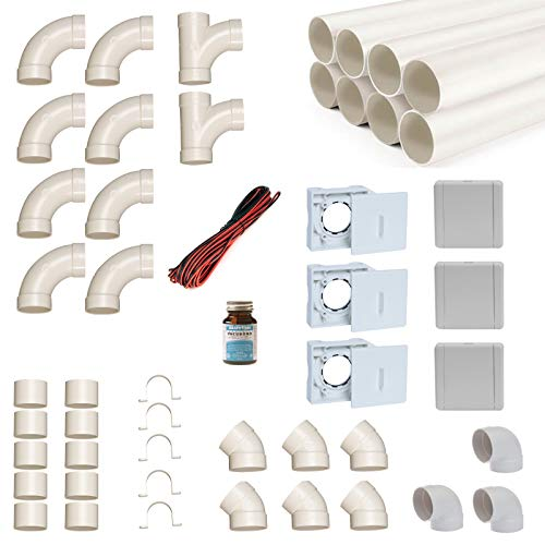 Zentralstaubsauger Einbau-Set für 3 Saugdosen mit Rohren, Fittings und Co - DIY-Montageset für Staubsaugeranlage - Saugdose VacuValve ES