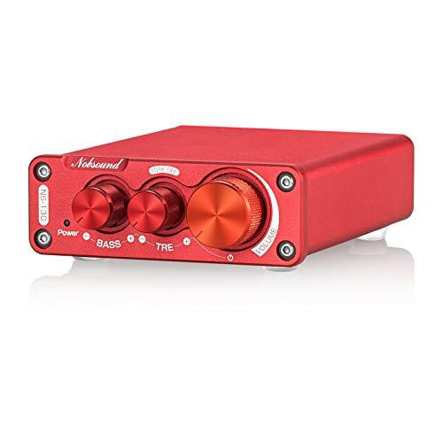 Nobsound Amplificador de potencia digital Hi-Fi de 200 W, estéreo, control de graves con amplificador de fuente de alimentación.