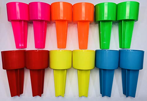 SPIKER Lifestyle Holder: for the beach & sofa holds drinks & more. Set of 12 NEON Pack in assorted colors. Blank to decorate as you wish.