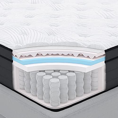 Sweetnight Matratze 160x200cm Taschenfederkernmatratze mit Gelschaum Orthopädisch punktelastische Matratze Härtegrad 3 Höhe 25cm ( 160 x 200 cm x 25 cm )