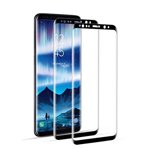 DOSNTO Protector Pantalla Completa 3D Samsung Galaxy S9 Cristal Templado, 2 Pack, Caso Amistoso, De Punta a Punta, Sin Burbujas, Anti-Scratch, Sensible al Tacto, Ultra HD
