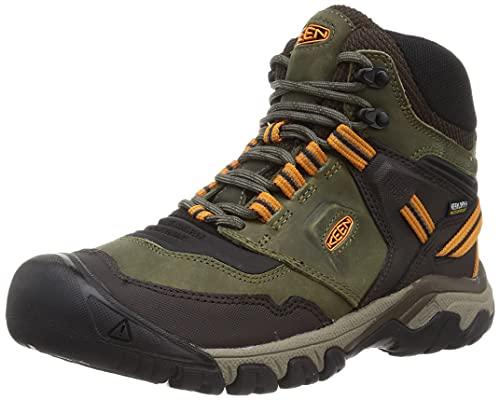 KEEN Men's Ridge Flex Mid Height Waterproof Hiking Boot, Capulet Olive/Desert Sun, 10.5