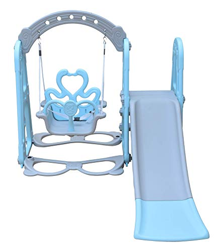 ehomekart garden slide combo for kids - playgro super garden slider combo - for boys and girls - perfect for home / indoor or outdoor - 155 x 119 x 104 cm-Blue
