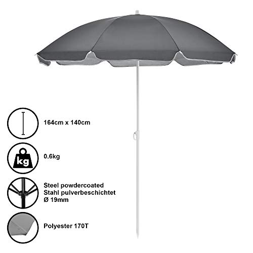 [casa.pro] Sombrilla de Playa Parasol Gris Ø x A 140 x 164cm Protector Solar