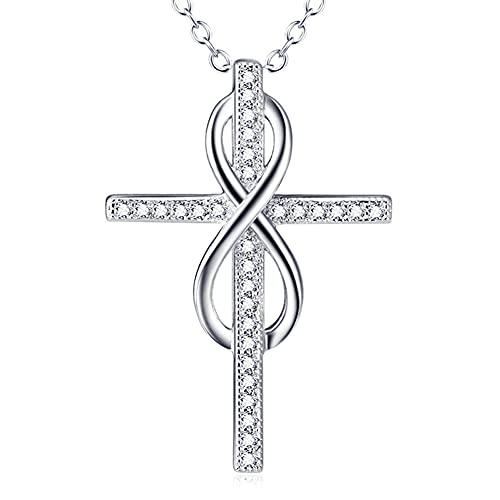 Lafeil Colgante Cruz Circonita Cúbica para Mujer Collar Amor Infinito Plata 925 Joyería Cristiana