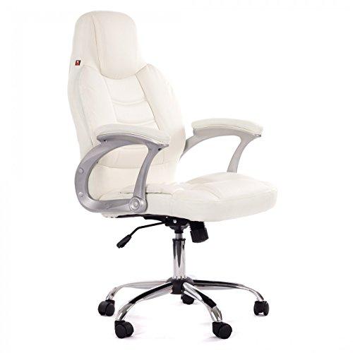 MY SIT Chaise de bureau Siège de bureau Fauteuil Design Blanco Venecia Deluxe avec accoudoirs rembourrés