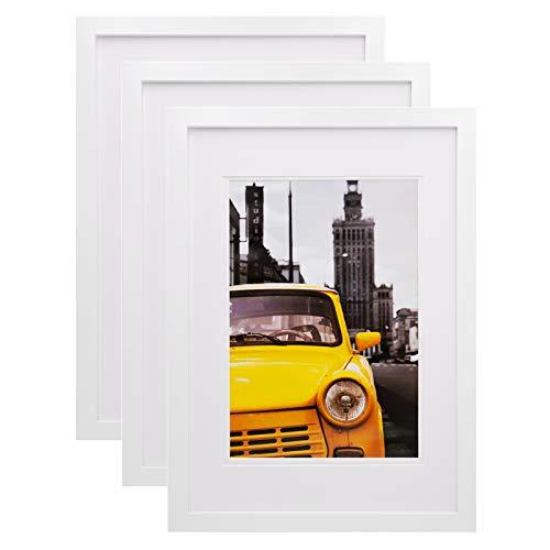 Egofine A3 Bilderrahmen weiß 3 Stück - besteht aus Massivholz und Plexiglas-Frontscheibe für Wandmontage mit Passepartout 21x30 cm