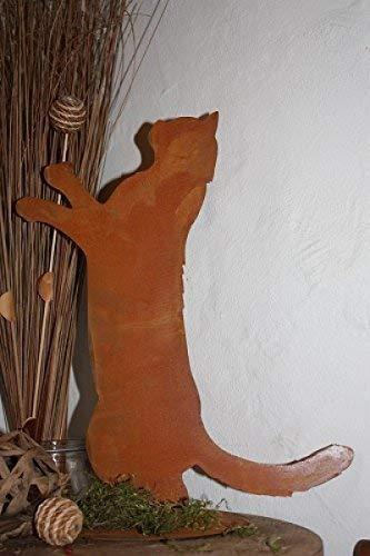 Rostikal | Edelrost Katze Feline stehend auf Bodenplatte | einzigartige Garten Rost Deko | 40 cm