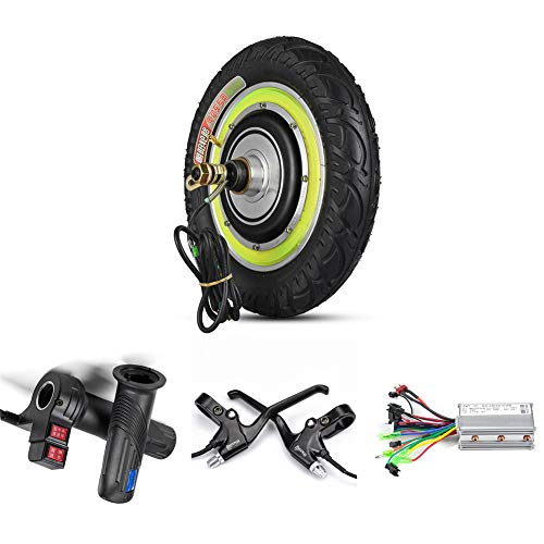 12inch Electric Scooter Conversion Kit 24V 36V 48V 350W Hub Motor DC Brushless Controller Twist Reverse Throttle and Brake for Mobility Scooter, Motor Vehicle Accessories (48V 350W Scooter Kit)