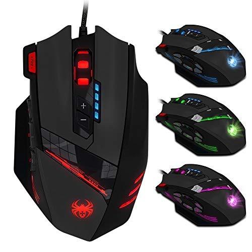 Baojiarong Ratón Gaming con 12 Botones programables,4000 dpi (hasta 8000DPI por el Software), Ajuste de Peso Set,Negro