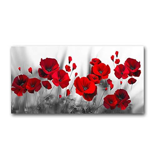 NIEMENGZHEN Pintura en Lienzo Decoración Morden Nordic Abstract Red Flowers Poster e impresión Sala de Estar Dormitorio Planta Imagen Arte de la Pared Hogar 60x120cm / 23.6'x47.2 Sin Marco